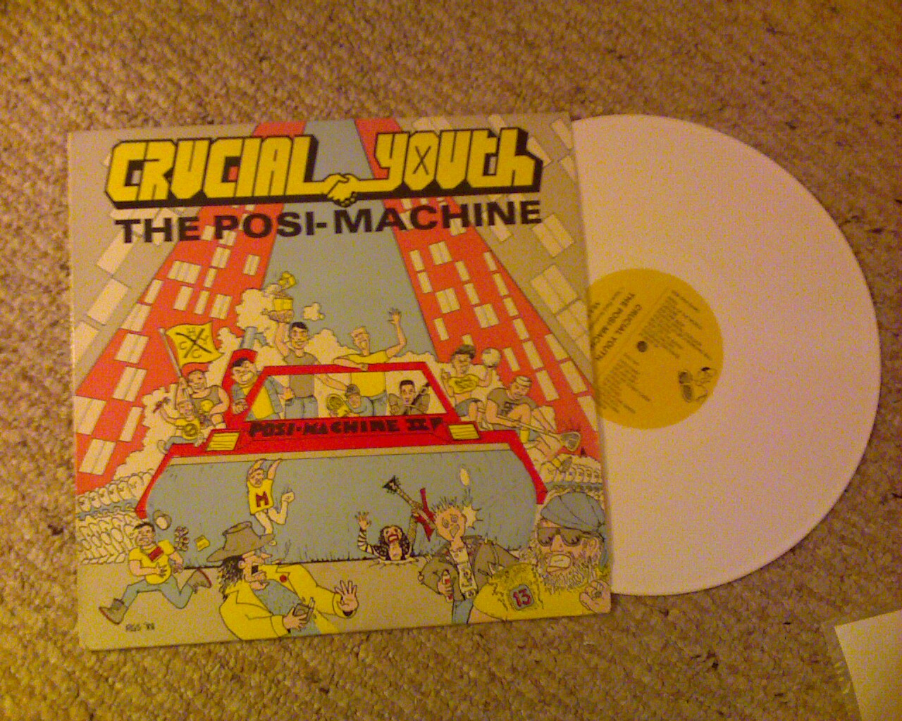 album cover + record for Crucial Youth - The Posi-Machine