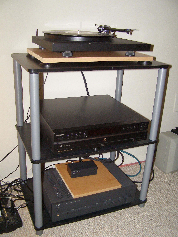 A closeup of my audio rack